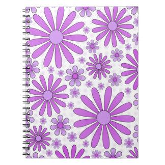 Purple Flower Power Notebook in White