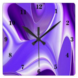 Purple Flower Rainbow Dreams Square Wall Clock