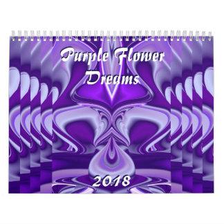 Purple Flower Rainbow Dreams Wall Calendars