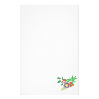 Purple Flower Red Berries Stationery Design