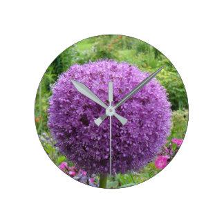 Purple Flower Round Clock