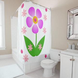 Purple flower shower curtain white background