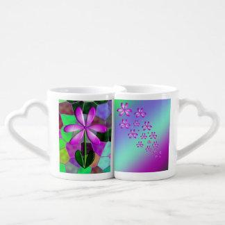 Purple Flower Stained Glass Coffee Mug Set