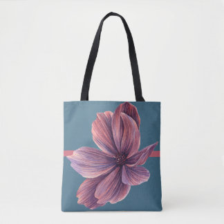 Purple FLOWER w/ Blue Background - Handbag / Tote