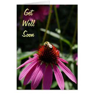 Purple Flower with Bee Get Well Soon Card