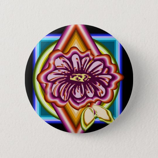 Purple flower with geometric shapes 2 inch round button