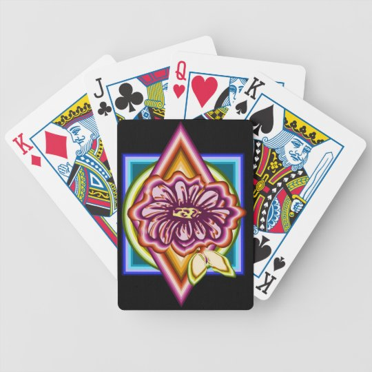 Purple flower with geometric shapes bicycle playing cards