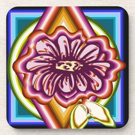 Purple flower with geometric shapes coaster