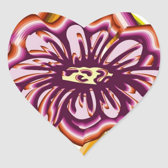 Purple flower with geometric shapes heart sticker