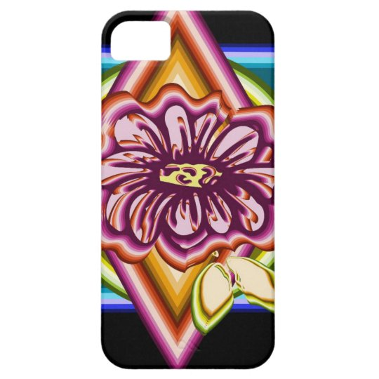 Purple flower with geometric shapes iPhone 5 case