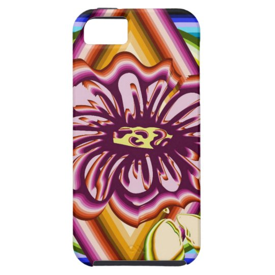 Purple flower with geometric shapes iPhone 5 covers