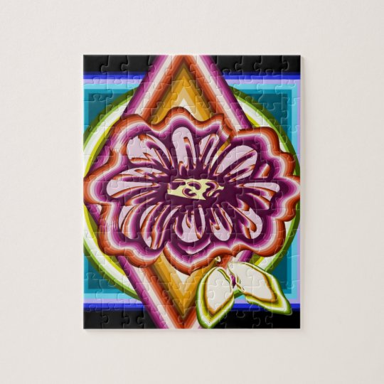 Purple flower with geometric shapes jigsaw puzzle