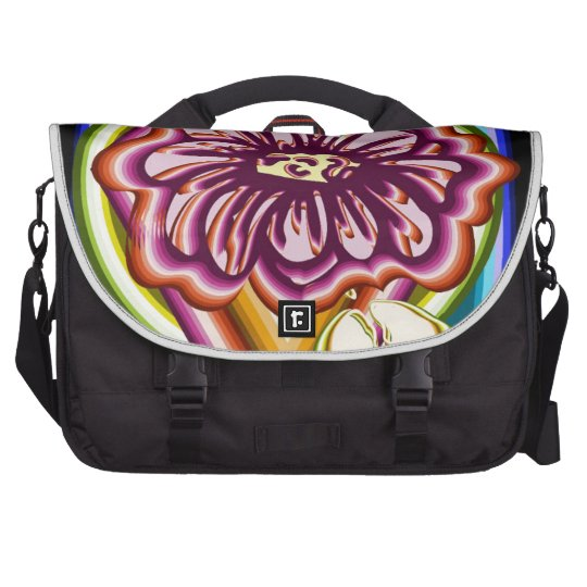 Purple flower with geometric shapes laptop bag