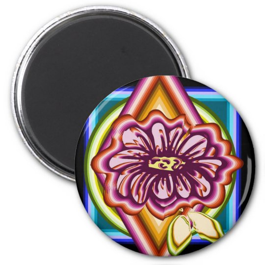 Purple flower with geometric shapes magnet