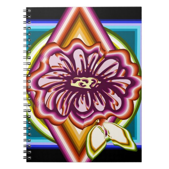 Purple flower with geometric shapes spiral notebook