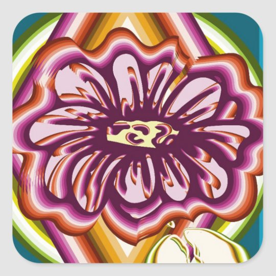 Purple flower with geometric shapes square sticker
