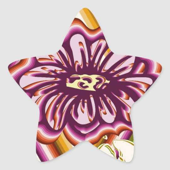 Purple flower with geometric shapes star sticker