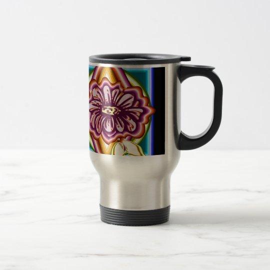 Purple flower with geometric shapes travel mug