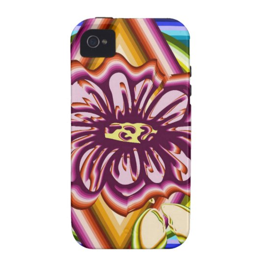Purple flower with geometric shapes vibe iPhone 4 covers