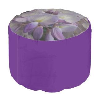 Purple Flower Woven Cotton Round Pouf