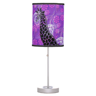 Purple Flowered Giraffe II - Table Lamp
