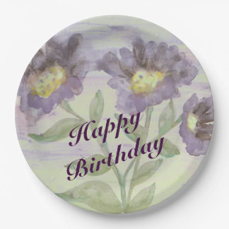 Purple Flowered Paper Birthday Plates 9 Inch Paper Plate