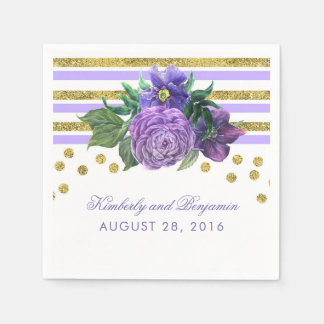 Purple Flowers and Gold Glitter Wedding Paper Napkins