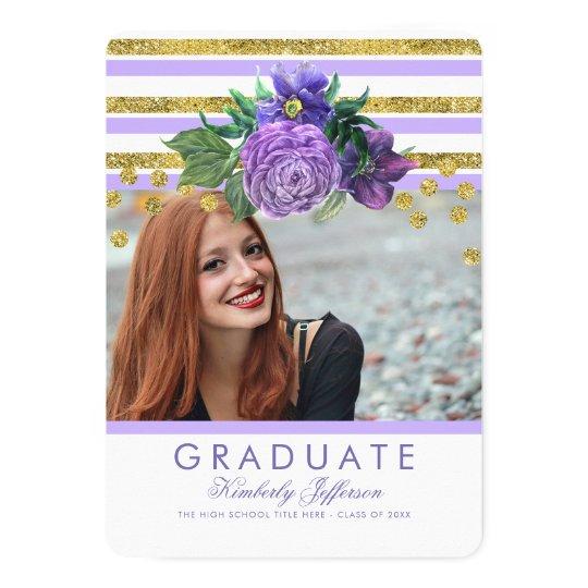 Purple Flowers and Gold Stripes Elegant Graduation Card