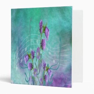 Purple Flowers and Musical Notes 3 Ring Binders