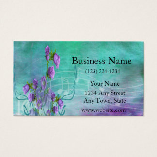 Purple Flowers and Musical Notes Business Card