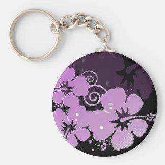 Purple Flowers Basic Round Button Keychain