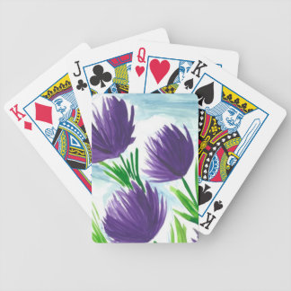 Purple Flowers Bicycle Playing Cards