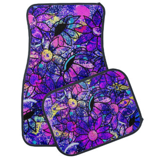 Purple Flowers Car Mats