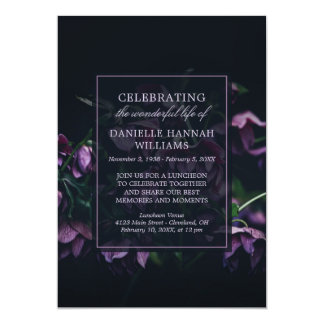 Purple Flowers - Celebration of Life Memorial Card