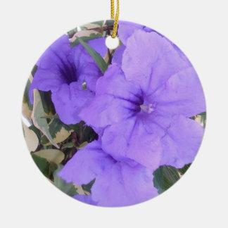 PURPLE FLOWERS CERAMIC ORNAMENT