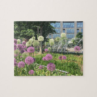 Purple Flowers Columbus Circle NYC New York City Jigsaw Puzzle