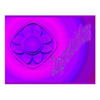 purple flowers congratulations postcard