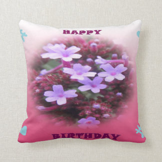 Purple Flowers Happy Birthday Pillow
