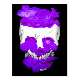 Purple Flowers In A Skull Postcard