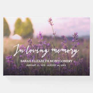 Purple Flowers In Loving Memory Guest Book
