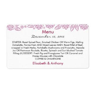 purple flowers & leaves on white wedding menu shipping label