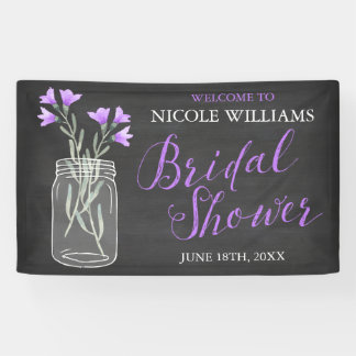 Purple Flowers Mason Jar Chalkboard Bridal Shower Banner