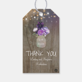 Purple Flowers Mason Jar Rustic Wood Pack Of Gift Tags