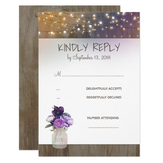 Purple Flowers Mason Jar Wedding RSVP Card
