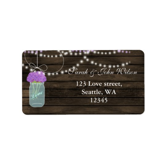 Purple Flowers Mason Jars Barn Wood Wedding Label