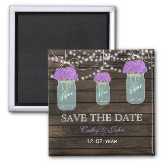 Purple Flowers Mason Jars Barn Wood Wedding Magnet
