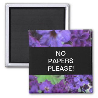 Purple Flowers No Papers Please Magnet