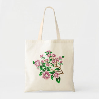 Purple flowers on a tree branch. original artwork tote bag