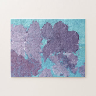Purple flowers on blue background jigsaw puzzle