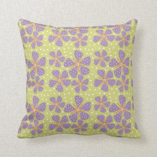Purple Flowers On Green Pillows
